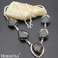 HERMOSA Jewelry Unique Fashion CUT SMOKY QUARTZ 925 Sterling Silver Women Necklace 15 inches HM380