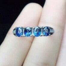 Натуральное настоящее кольцо с синим сапфиром,, Стерлинговое Серебро 925 пробы 0.35ct* 4 шт драгоценных камней для мужчин или женщин# R991217