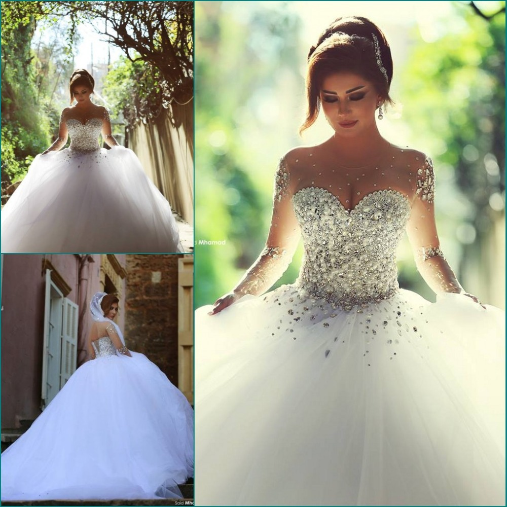 Beautiful Sheer Sleeve Crystal Wedding Dress Vestidos De