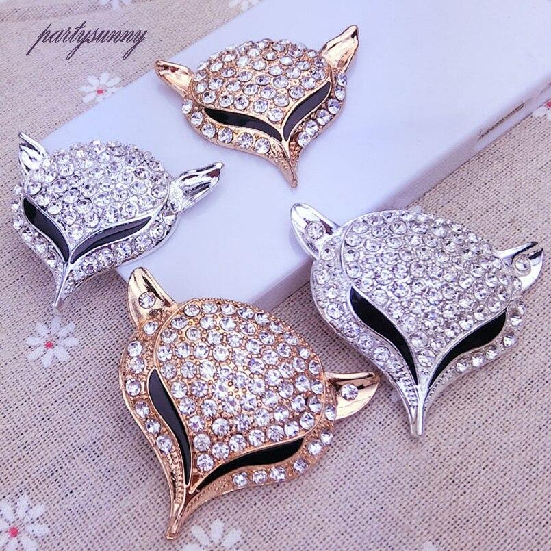 Fox Headed Rhinestone Jewelry Findings Alloy Handmade Craft For Bracelet Necklace Jewelry Making Decor Diy Accessories