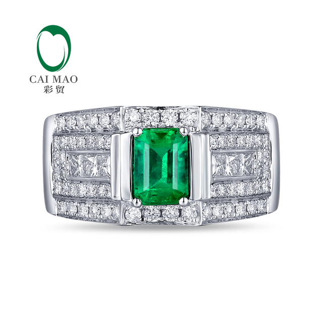 14K White Gold 1.05ct Natural Emerald & 1.21ct Diamonds Engagement Ring For Man and Women
