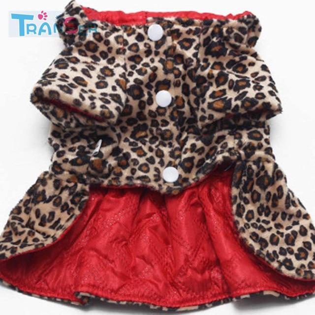 Transer Cute Pets Dogs Leopard Woolen Dress Tops Puppy Cotton Hoodie Clothes XS-XL Costumes 18Jan19