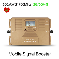 Free Shipment ATNJ AWS 1700MHz GSM 850Mhz Dual Band Mobile Phone Signal Booster Signal Repeater Amplifier