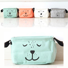 Lovely Office Desktop Debris Storage Box Cartoon Container Canva Simple Finishing  Bags Lovely Toy Storage Bin Makeup