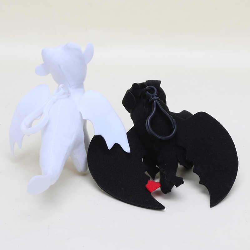 10 pçs/lote 3 15 centímetros Como treinar O Seu Dragão Desdentado Fúria Da Noite Plush Toy pingente Luz Fúria Dragão branco keychain brinquedos de Pelúcia