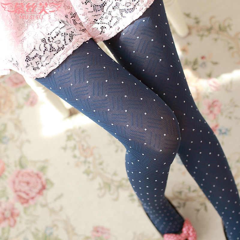 263abb10b 2017 Fashion thin autumn and winter women dot pantyhose Lattice little  velvet tights Girl base stockings