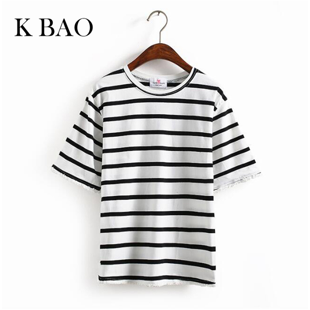 summer new women t shirt striped casual style cotton loose tops t-shirt women tee tops black gray red