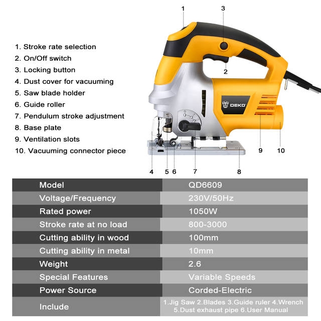 Laser Jig Saw with LED Light, Variable Speed Includes Carrying Case, 6pcs Blades, Metal Ruler, Dust Pipe, Allen Wrench 3