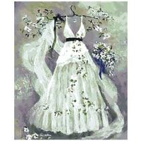 Suknia ślubna Dekoracje Obraz Olejny na Płótnie Handmade by Numbers Rysunek Home Art Decor Zdjęcia Ścienny do Salonu