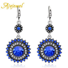 Ajojewel Merah Biru Vintage Drop Anting-Anting Perhiasan Wanita Anting Retro Berlian Imitasi Perhiasan Antik Grosir(China)