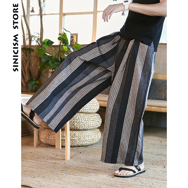 Sinicism Store Man Cotton Linen Wild Leg Pant Men Casual Stripe Straight Flare Trousers 2020 Male Traditional Pants Trousers 28