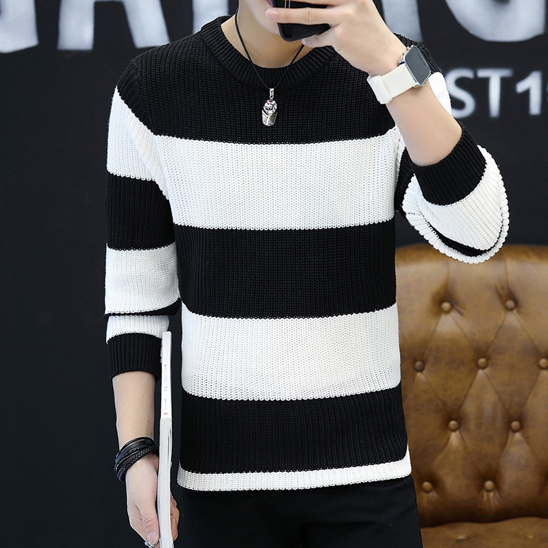 Hot sale 2018 Sweater Men Casual O-Neck Fashion Striped Youth Sweaters Mens Knitted Sweaters Pullover Men