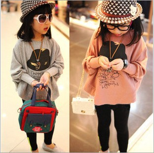 girls tracksuit children hoodies cardigan Casual Print Fashion Floral sweatshirt kids Bat shirt Irregular stitching cute clothes