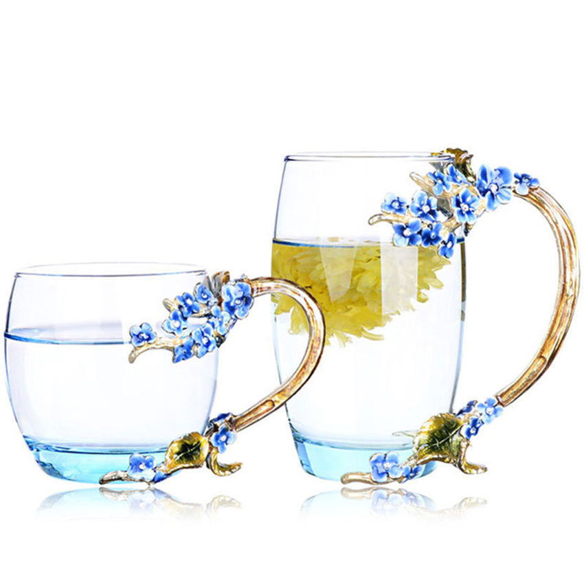 GFHGSD Creative Vintage Enamel Glass Cups Blue Rose Handgrip Style with a Butterfly on the Body Glass Coffee Set Tea Cup Gift