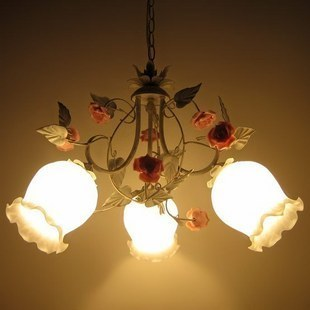 American Garden white iron glass flowers pendant light children room bedroom three head lighting