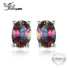 Jewelrypalace 3.6ct natural rainbow fuego místico topacio oval pendientes del perno prisionero para las mujeres sólido 925 pendientes de plata de ley para las mujeres