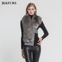 2018 New Arrival Women's Silver Fox Fur Vest Real Fur Scarves Fashion Style Lady Winter Thick Warm Fur Belt Top Quality S7397