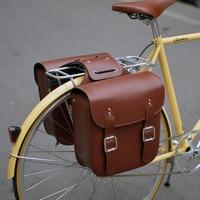 Q1096 Free shipping Retro cycling bags Vintage bike senior pu leather camel bag hard back shelf package saddle bag
