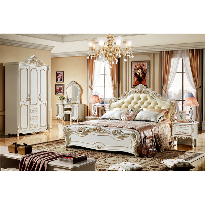 Foshan Luxurious White Antique King Size Bed Bedroom Furniture Set