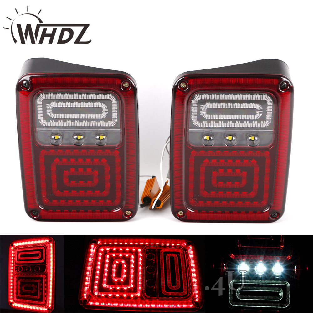 WHDZ Pair US Version Led Tail Lights with DRL Brake Rear Turn Signal Reverse Lamp for 07-15 Jeep Wrangler JK for vw volkswagen polo mk5 6r hatchback 2010 2015 car rear lights covers led drl turn signals brake reverse tail decoration