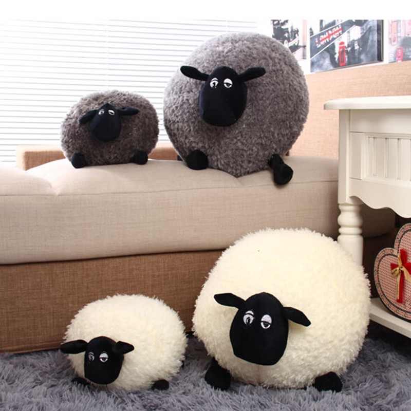 1 Piece New Lovely Stuffed Soft Plush Toys Cushion Sheep Character WhiteGray Kids Baby Toy Gift