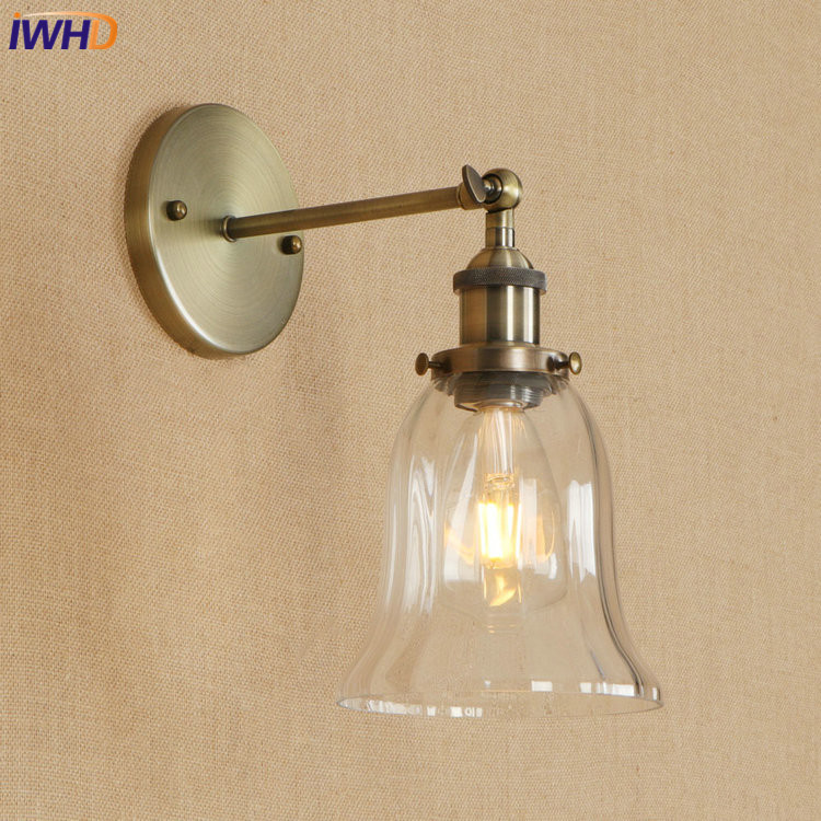 IWHD Vintage Iron Adjustable Wall Lamp Loft Edison LED Wandlamp RH Wall Light E27 4W Retro Bathroom Light Fixtures Home Lighting настенный светильник leds c4 wall fixtures 05 0836 14 55