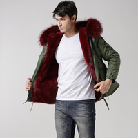 2017 Mens Red short style winter jacket Mr. fur coat with real raccoon collar, fashion mens business coat