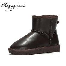 e310f5d57 MIYAGINA 2019 nueva moda 100% cuero genuino de piel de vaca botas de nieve  australia clásico botas de Mujer Zapatos de invierno .