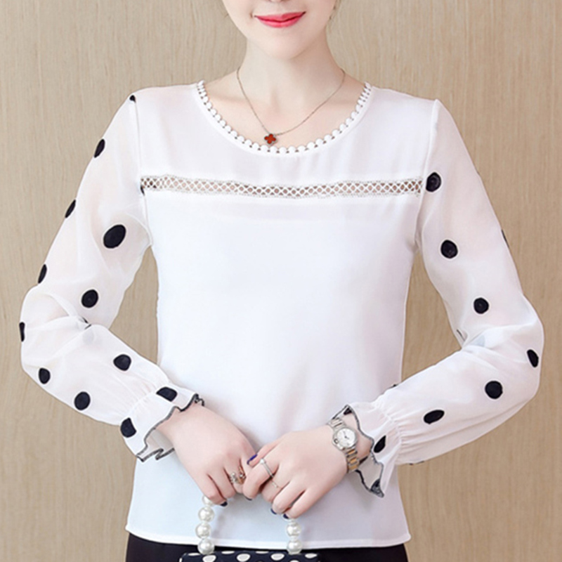 Women White Blouse Shirt Chiffon 2019 Spring Summer Hollow Out Dot O-Neck Shirts Femme Slim Fit Casual Blusas Mujer New Fashion
