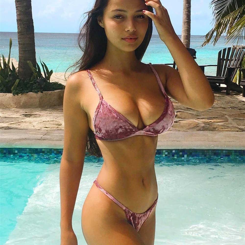 2b95193111e27 Gold Velvet Bikini Set 2018 Super Sexy Bikini Women Low Waist Swimwear New  Brazilian Swimsuit Pink