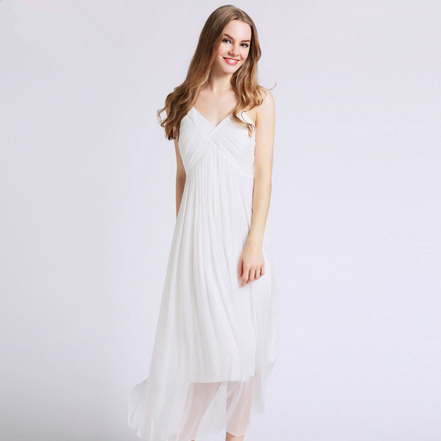Pure Silk Dress Women Spring Summer Soild White/Yellow Strapless ...