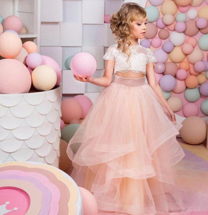 2018 Two Pieces Short Sleeves Ball Gown   Flower     Girl     Dresses   Long Pageant   Dresses   For Kids Appliques Champagne For Baby M2639