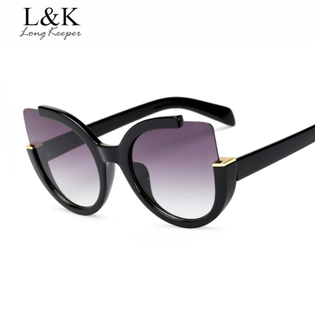 f0774b448f Long Keeper Fashion Women Cat Eye Sunglasses Vintage Gradient Sun Glasses  Flat Lenses Mirror Eyewears AM1519 with free shipping