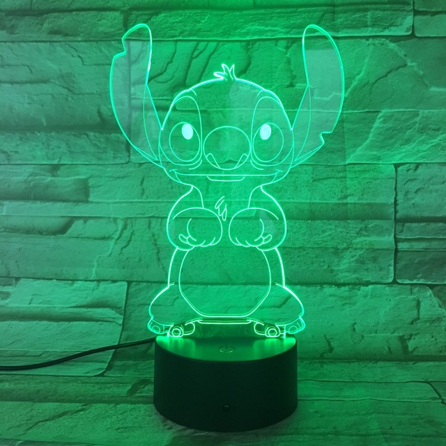 Cartoon Stitch 3D Lamp Bedroom Table Night Light Acrylic Panel USB Cable 7 Colors Change Touch Base Lamp Kids Gift 3D-812 1