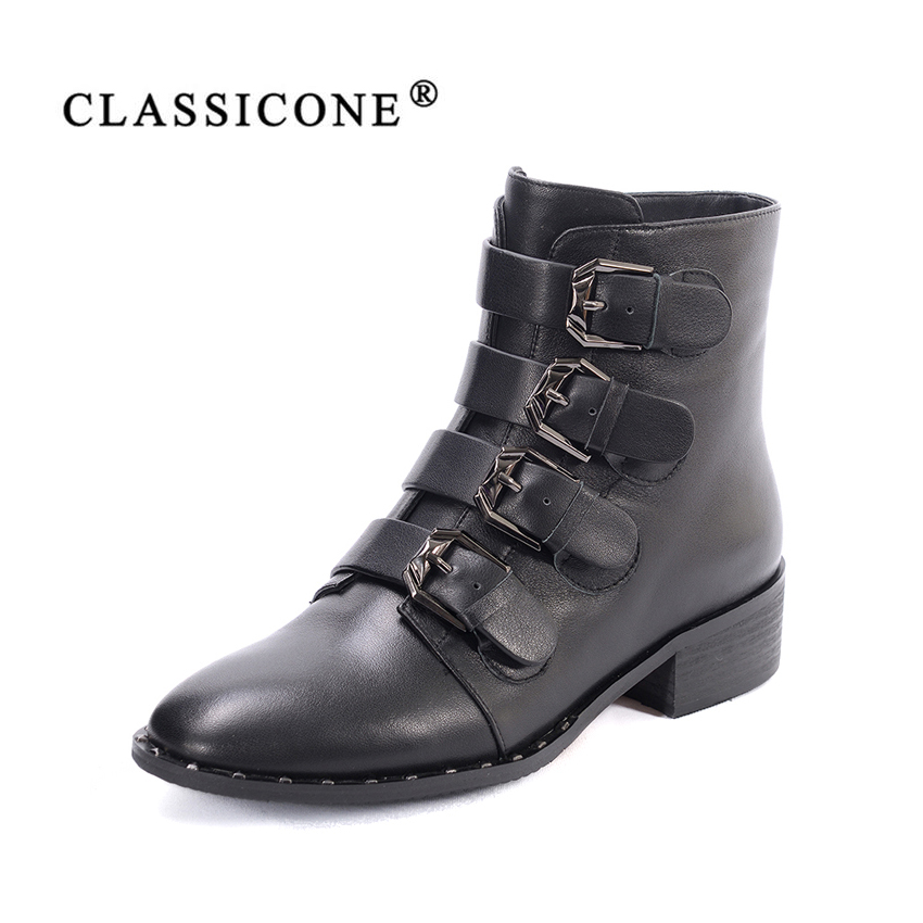 women shoes woman ankle boots spring autumn flats with genuine leather fashion black brand decoration sexy style CLASSICONE 2018