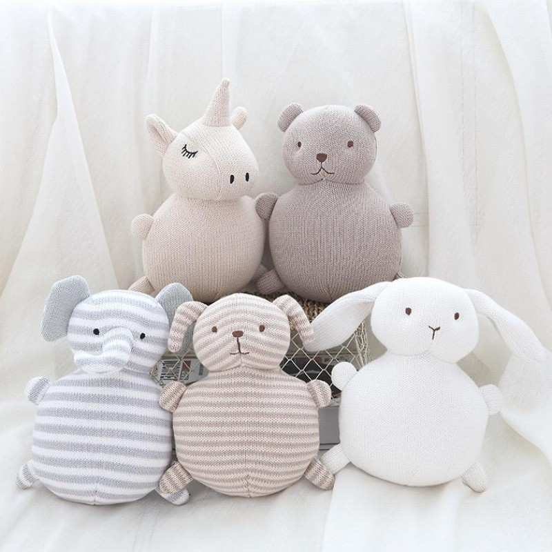 Baby Pillow with Bell Bear Plush Toys for Kids Room Decor Infant Knitted Animals Stuffed Toys for Newborns Girls Birthday Gifts