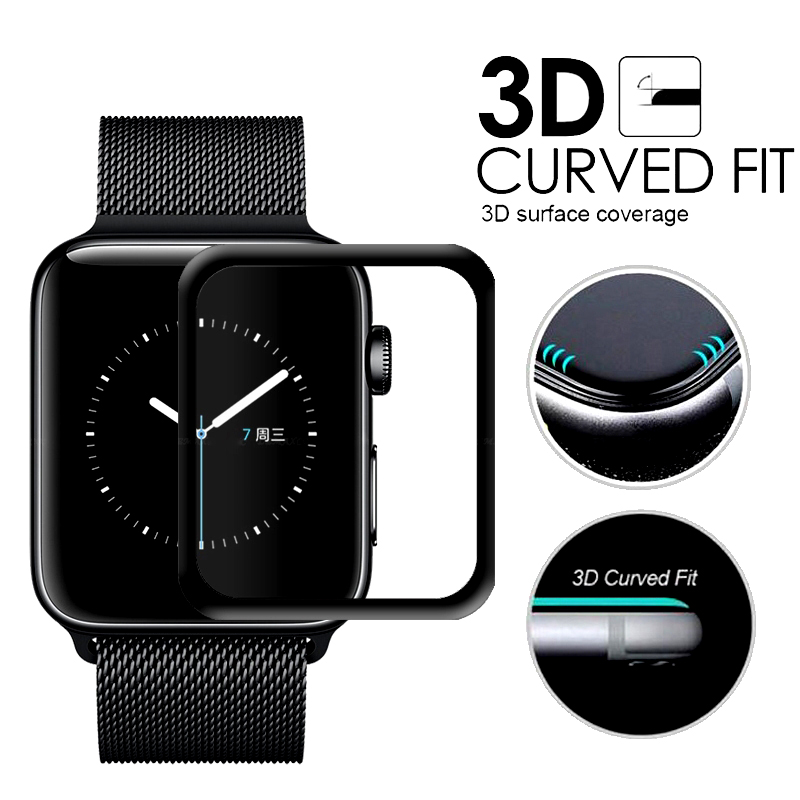 3D Curved Edge Screen Protector for iwatch 38 42 mm Glass Tempered Glass For Apple