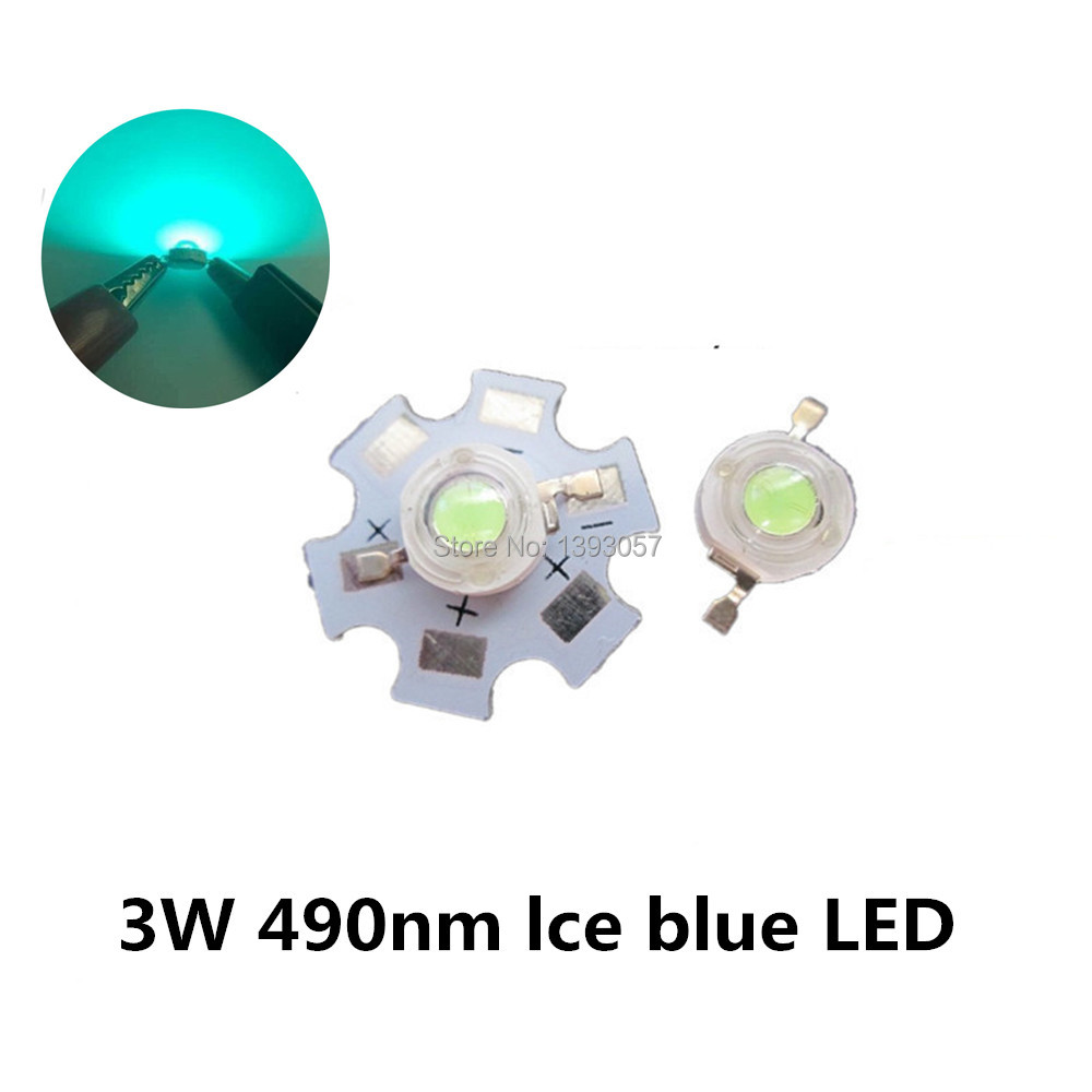 10 - 500pcs 3W High Power <font><b>LED</b></font> Lamp Ice blue 480nm <font><b>490nm</b></font> 3.2-2.6v 700mA light-emitting image