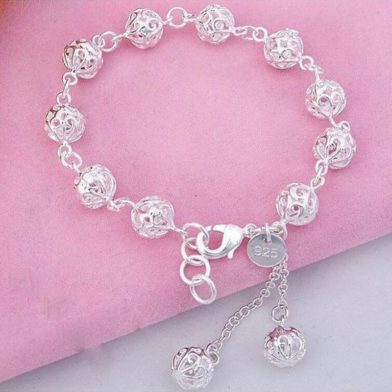 Well-liked 1PCS Women Silver Plated Bracelets Link Chain Women Hollow Ball  UO15