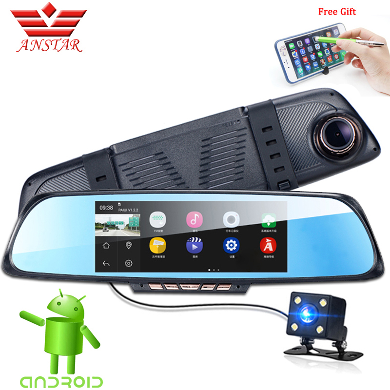 ANSTAR Car Camera DVR 6.86'' Touch GPS Car DVR Dual Lens Camera Rearview Video Recorder Mirror FHD 1080P WiFi Android Dash Cam bigbigroad for nissan qashqai car wifi dvr driving video recorder novatek 96655 car black box g sensor dash cam night vision