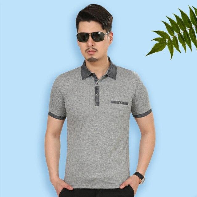 Hombres polo camisa de 2016 nuevos mens del verano de mediana edad hombre de negocios de algodón mercerizado de manga corta de verano camisas polos de impresión