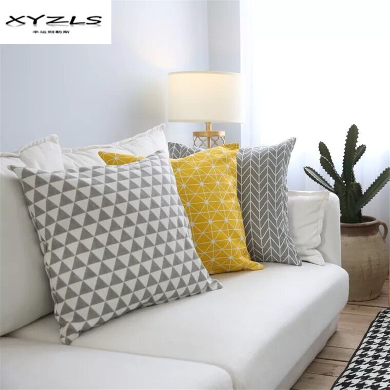 XYZLS Modern Simple Geometric Cushion Cover Cotton Linen Throw Pillow Cover for Car Sofa Home Decoration 45x45cm 60x60cm