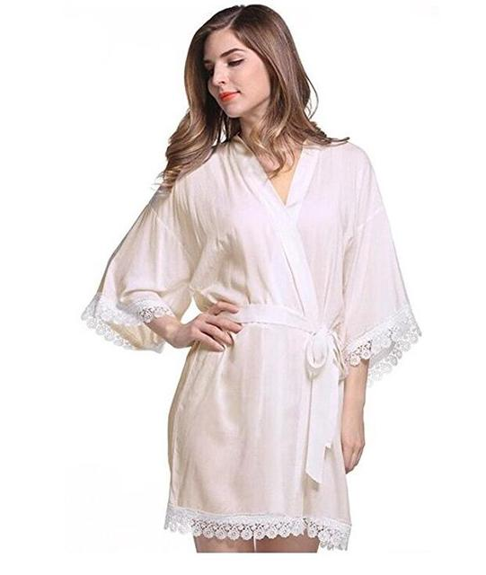 Women S Cotton Kimono Wedding Robe For Bride And Bridesmaid With Lace Trim Short Style