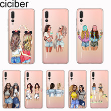 ciciber Cover For Huawei P30 P20 P10 P9 P8 Lite Pro Plus 2017 P smart 2019 Phone Cases Soft TPU Cartoon Girls Good Friend Coque(China)