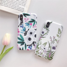 for iPhone X 6 8 7 Plus 6s Case Cute Floral Shell Cover Bumper Painting Flowers Leaves Silicone Skins
