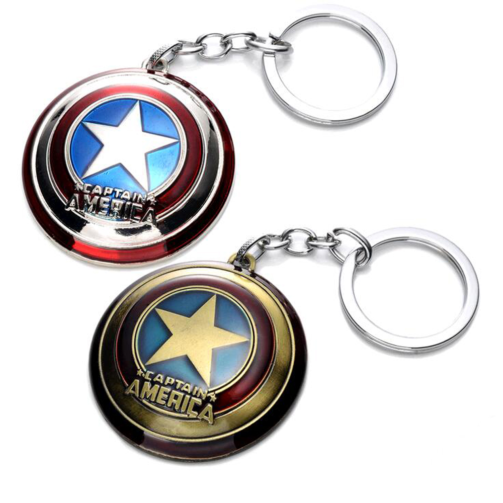 2018 New Hot Marvel Super Hero Captain America pendant key ring key holder llaveros metal avengers Cosplay Keychain jewelry