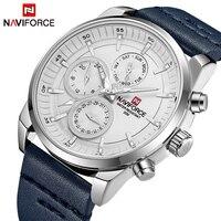 NAVIFORCE Luxury Brand Men's Military Waterproof Leather Sport Watch Men Leisure Quartz Watch 24 Hour Date Display Analog Clock