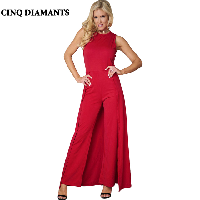 040b177964e CINQ DIAMANTS Summer Red Jumpsuit Women Elegant Sleeveless Jumpsuit Long  Pants Overalls Formal Full Length Jumpsuits Combishort
