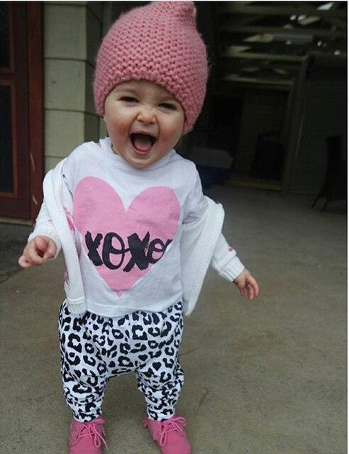 72e23030 Nueva moda Primavera otoño bebé niña ropa recién nacido Ropa de manga larga  Camiseta + Pantalones