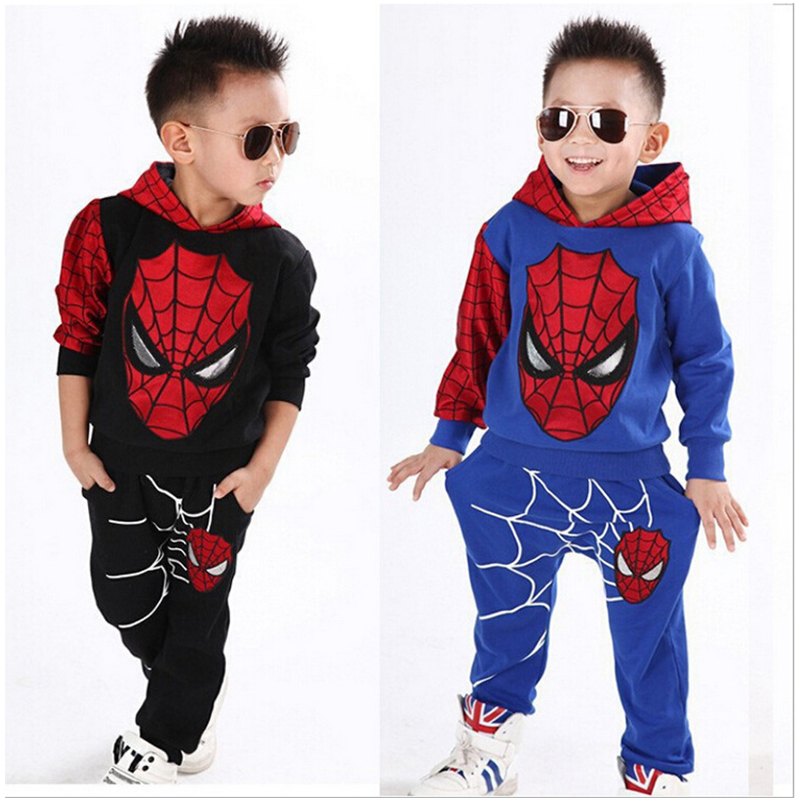 Children Cartoon Spiderman Autumn 2pcs Hoody Jacket Clothing Sets Baby Kids Clothes Boys Teenage Casual Clothes Set Sport Suits